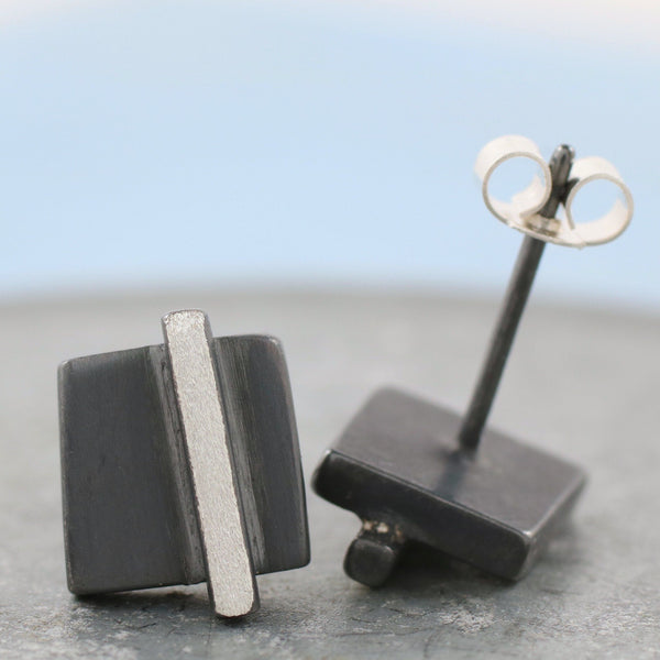 Silver Geometric Square Stud Earrings