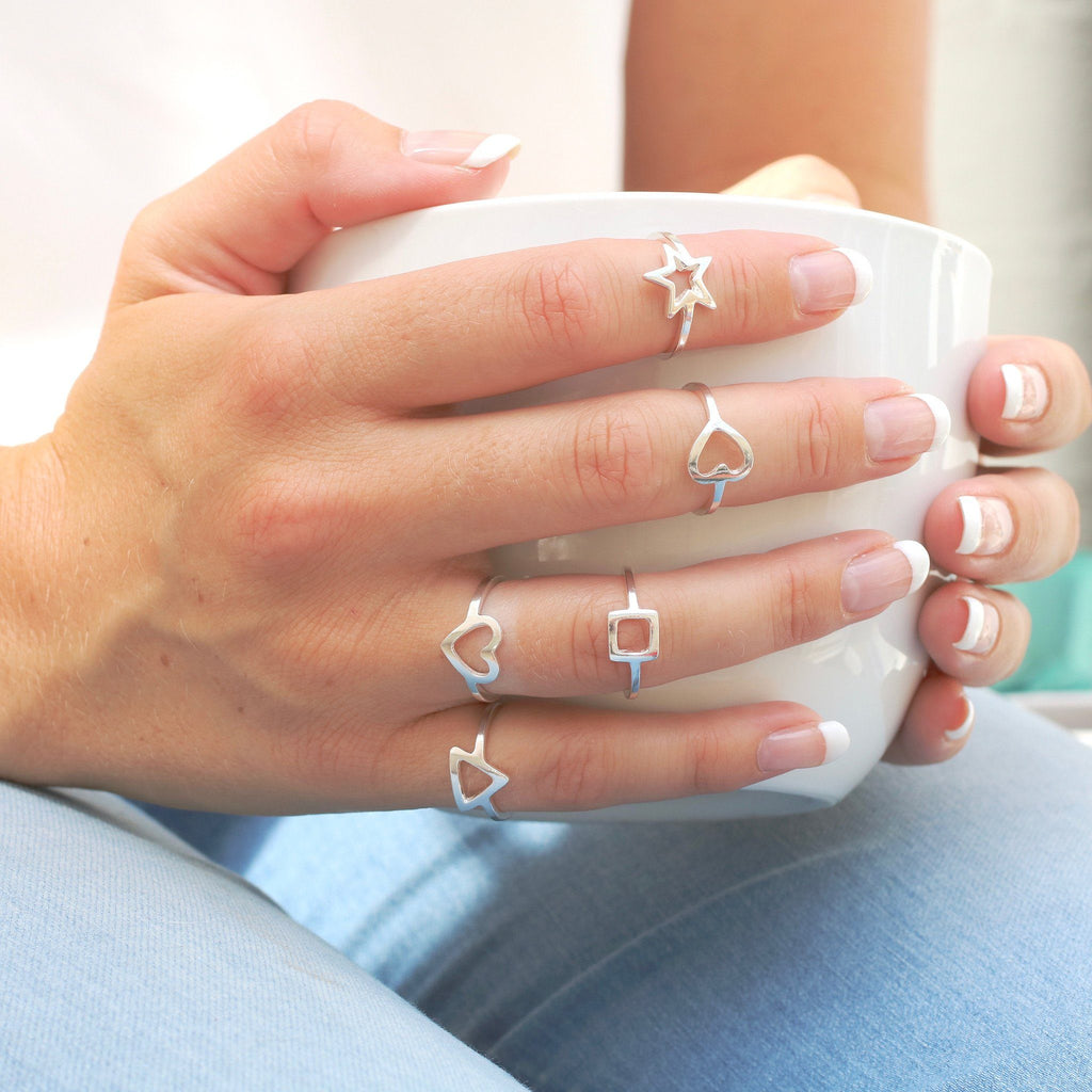 Silver Heart Star Triangle Square Geometric Rings
