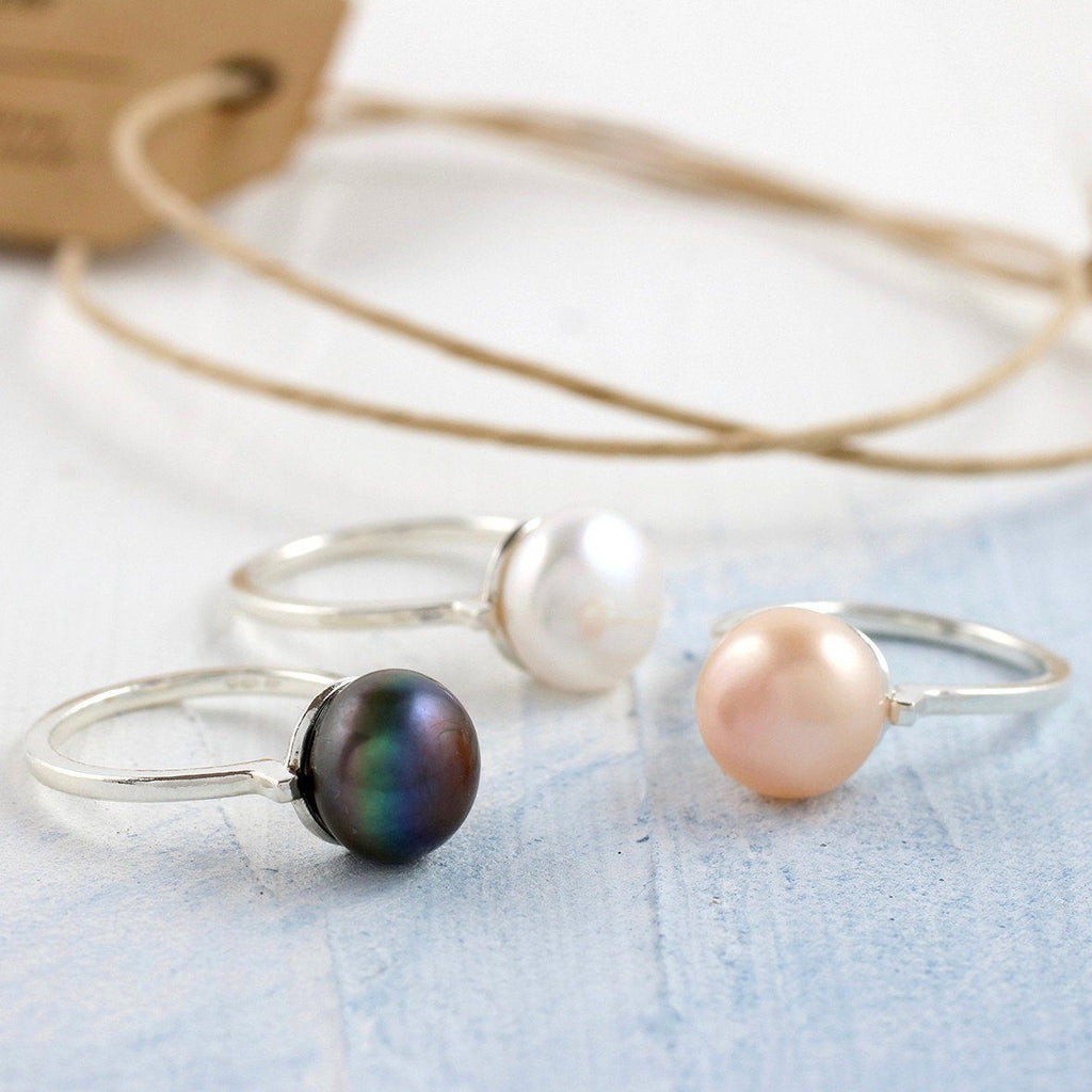 Silver Pearl Solitaire Cocktail Ring