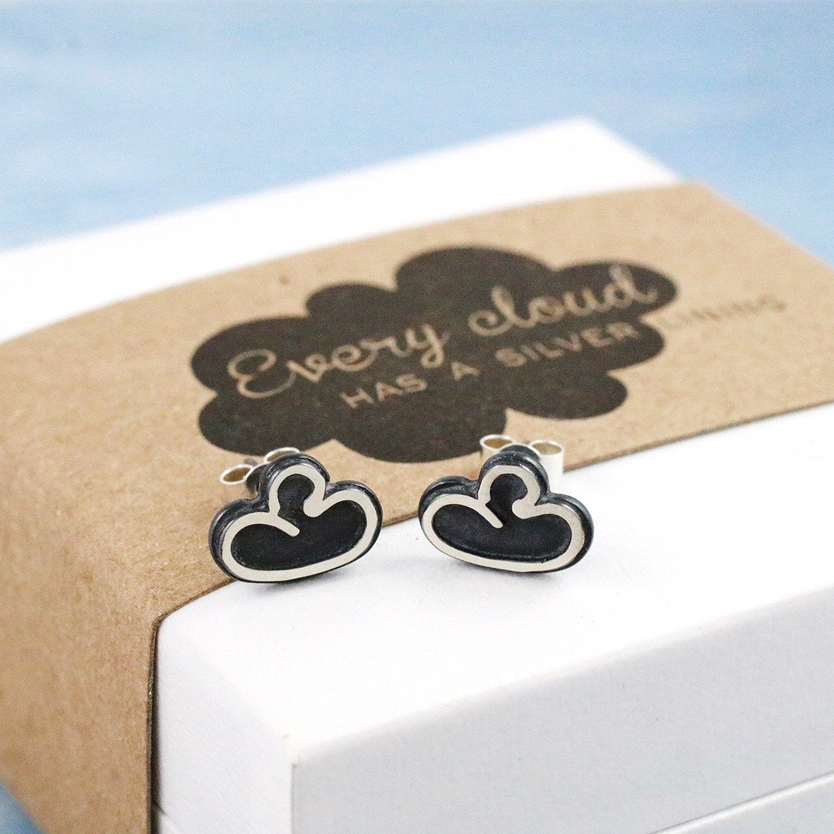 silver lining stud earrings