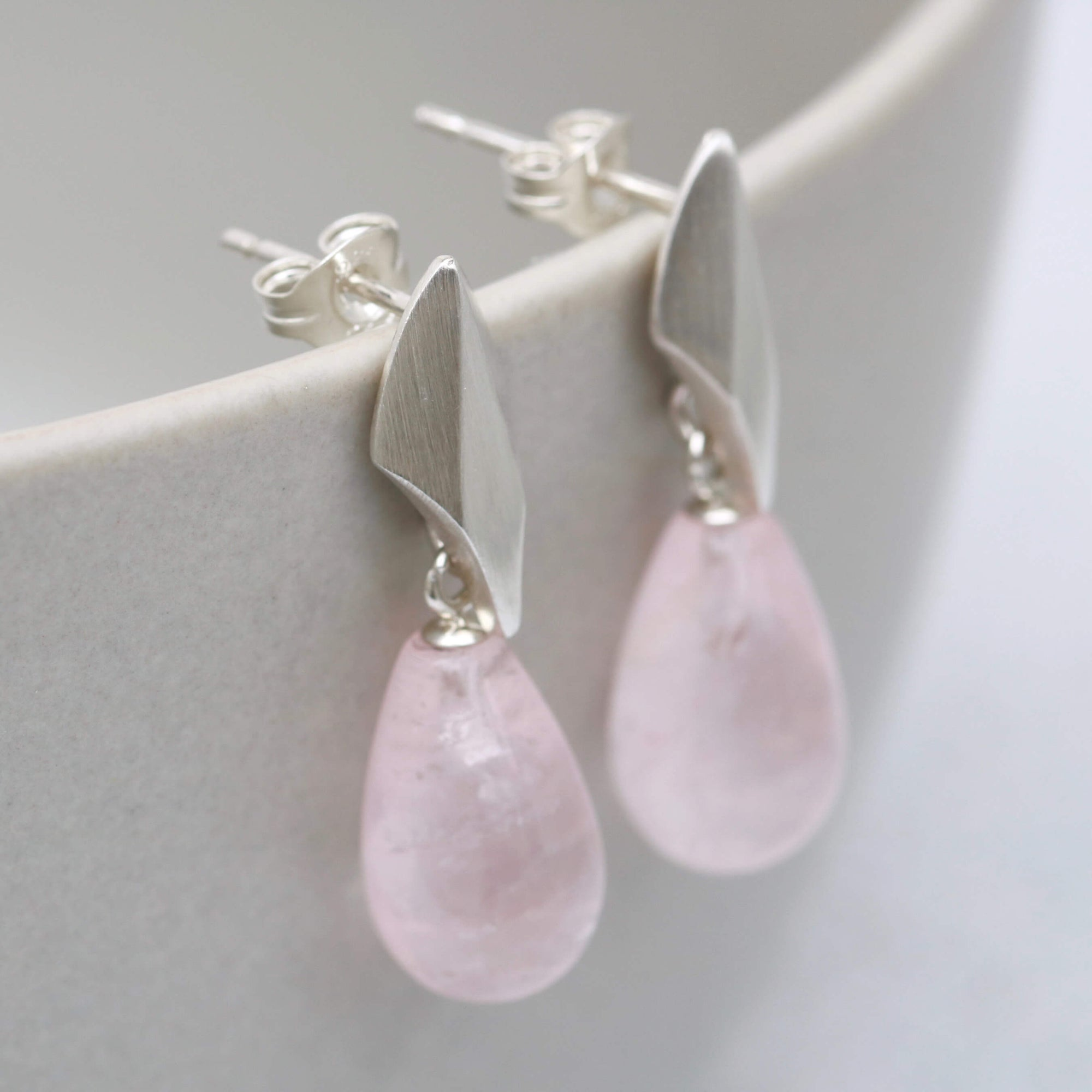 Silver Deco Dropper Earrings with Rose Quartz