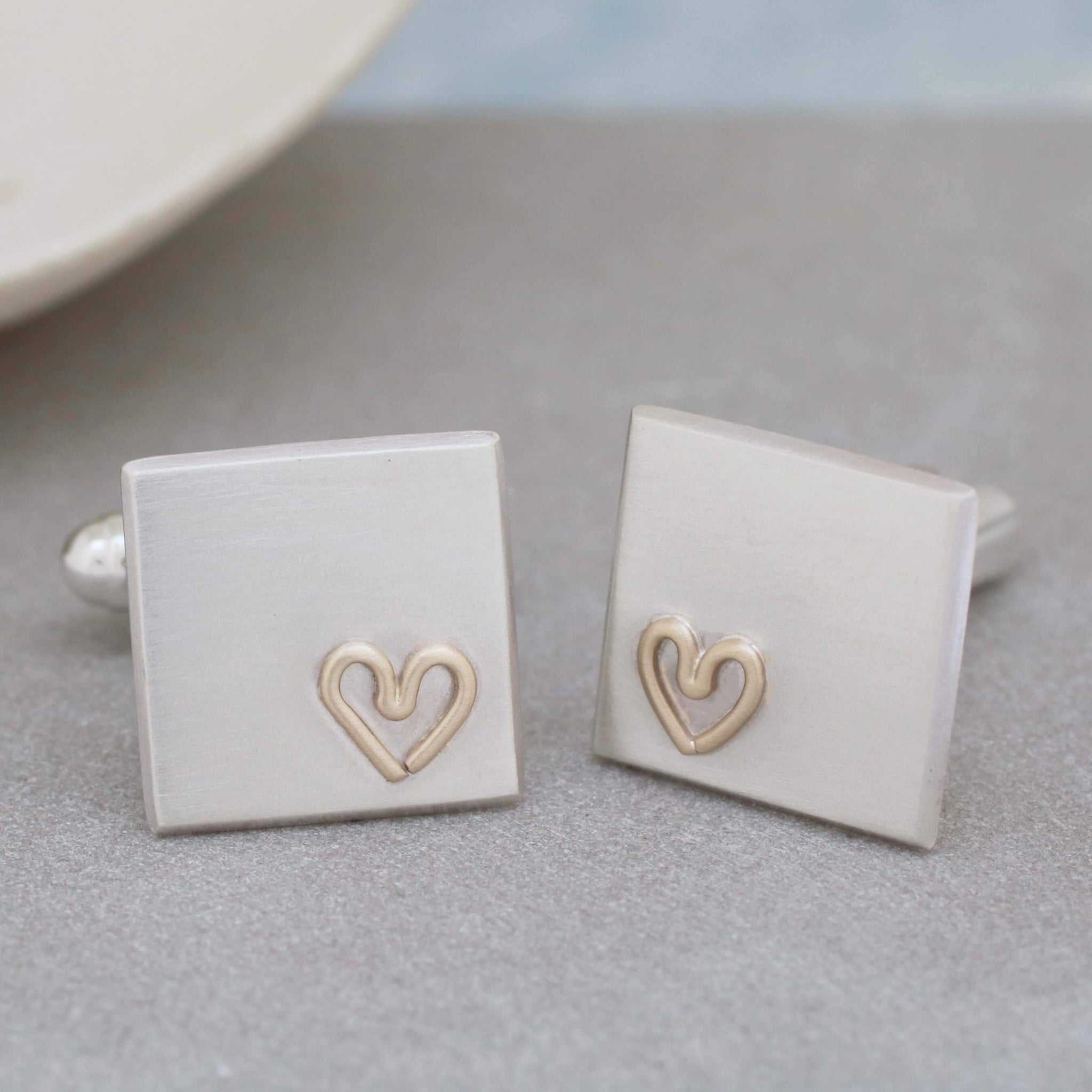 Gold Heart cufflinks gift