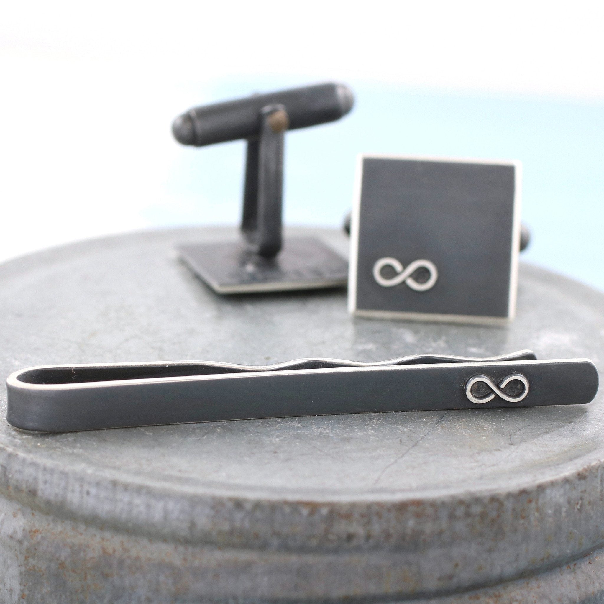 Personalised Silver Black Infinity Cufflink Tie Set
