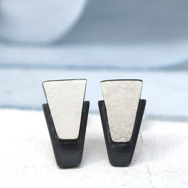 Art Deco Silver Diamond Stud Earrings