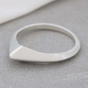 Asymmetrical Teardrop Carved Ring