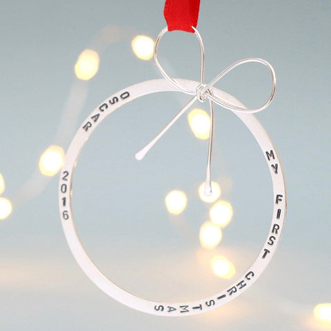 Large Personalised Silver Christmas Bauble