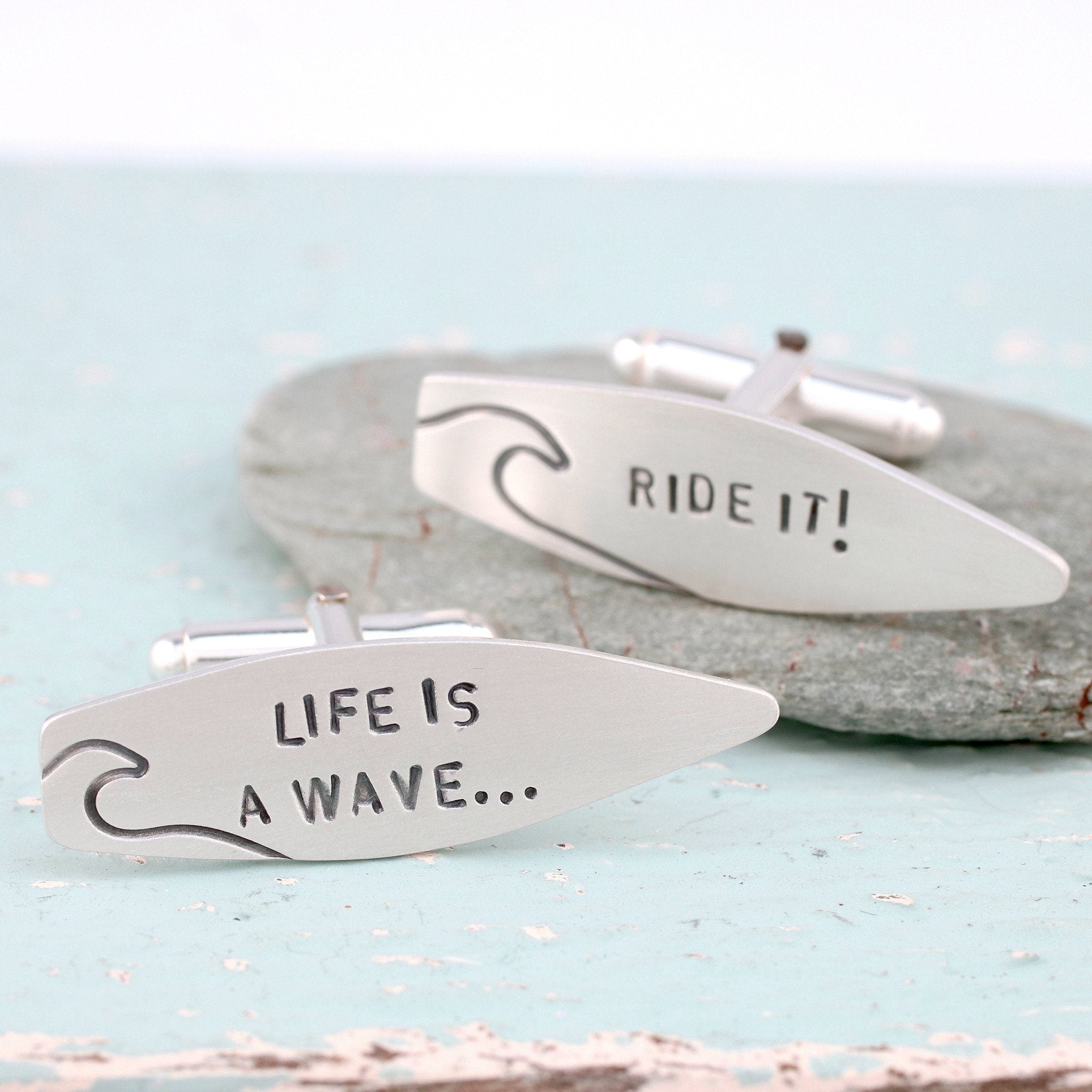 surfing quote cufflinks