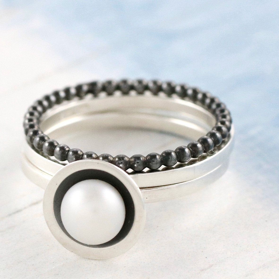 sterling silver pearl stacker ring