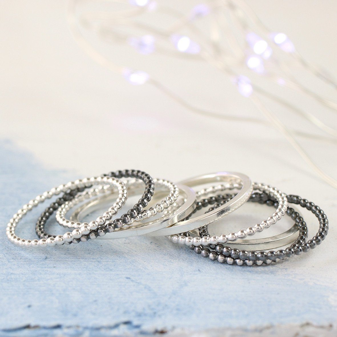 Silver Skinny stacker Rings