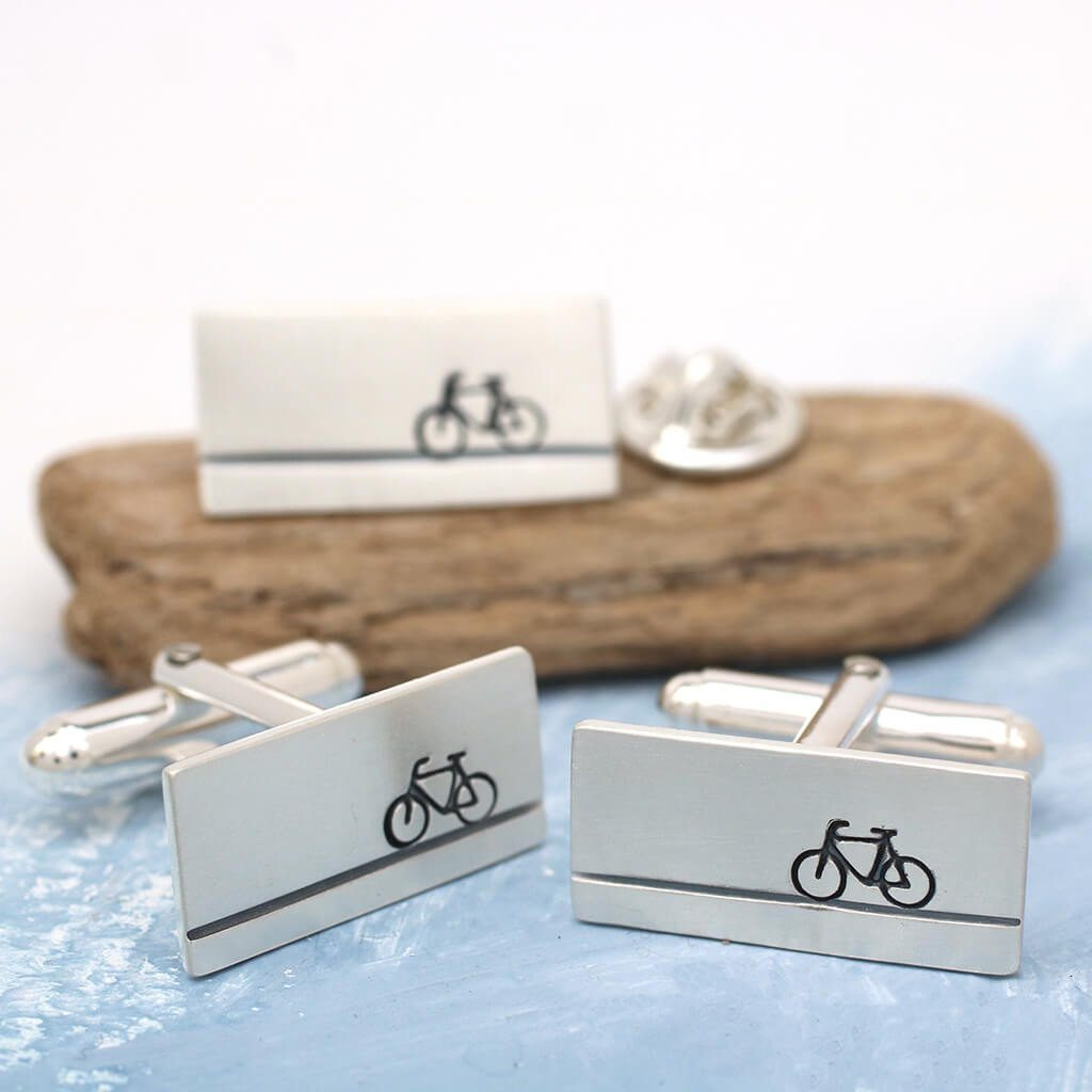 Bicycle cufflinks and tie pin set