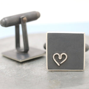 Black heart cufflinks