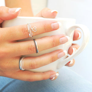 silver beaded stacking rings