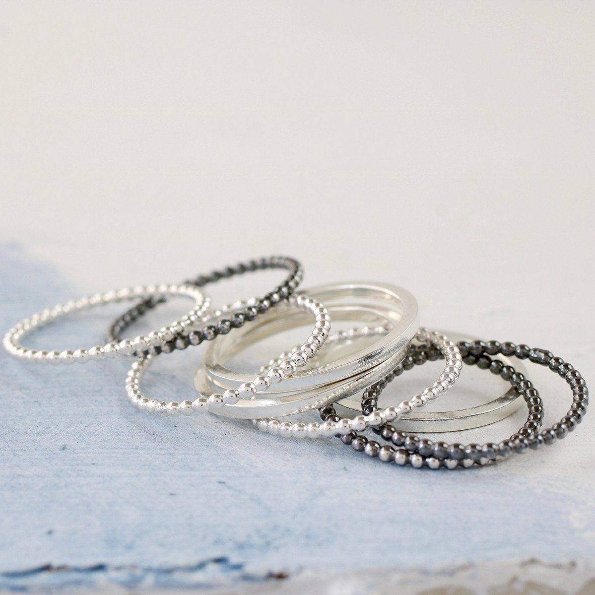 silver midi stacker rings