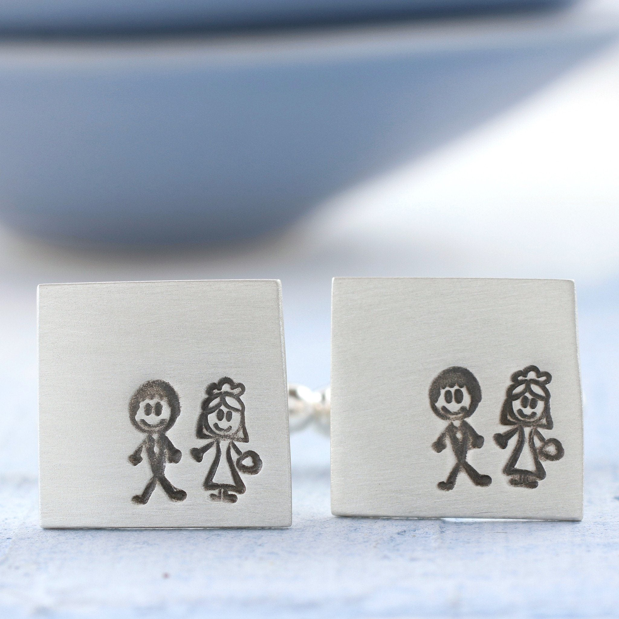 sterling silver bride and groom cufflinks