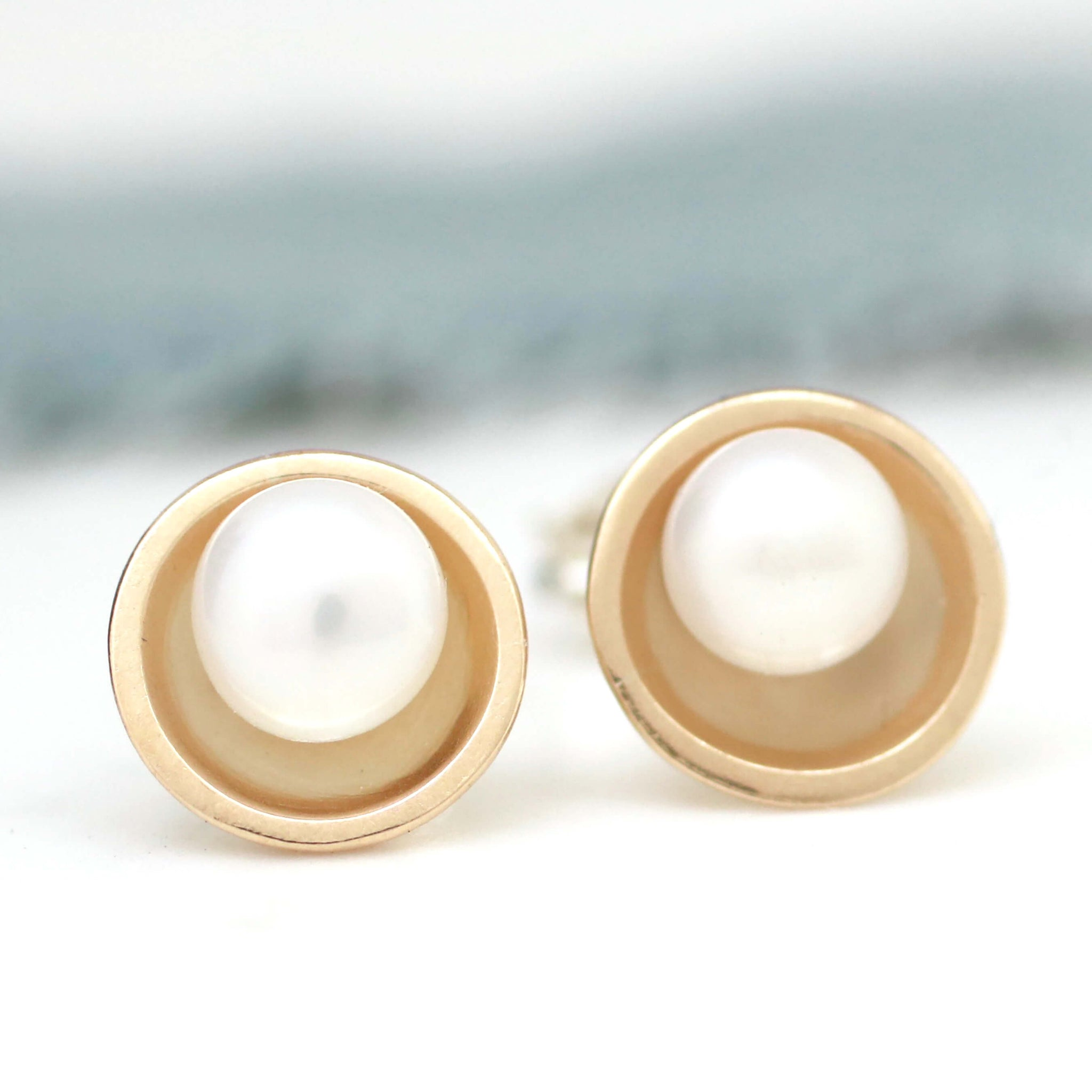 Silver And 9ct Gold Pearl Stud Earrings