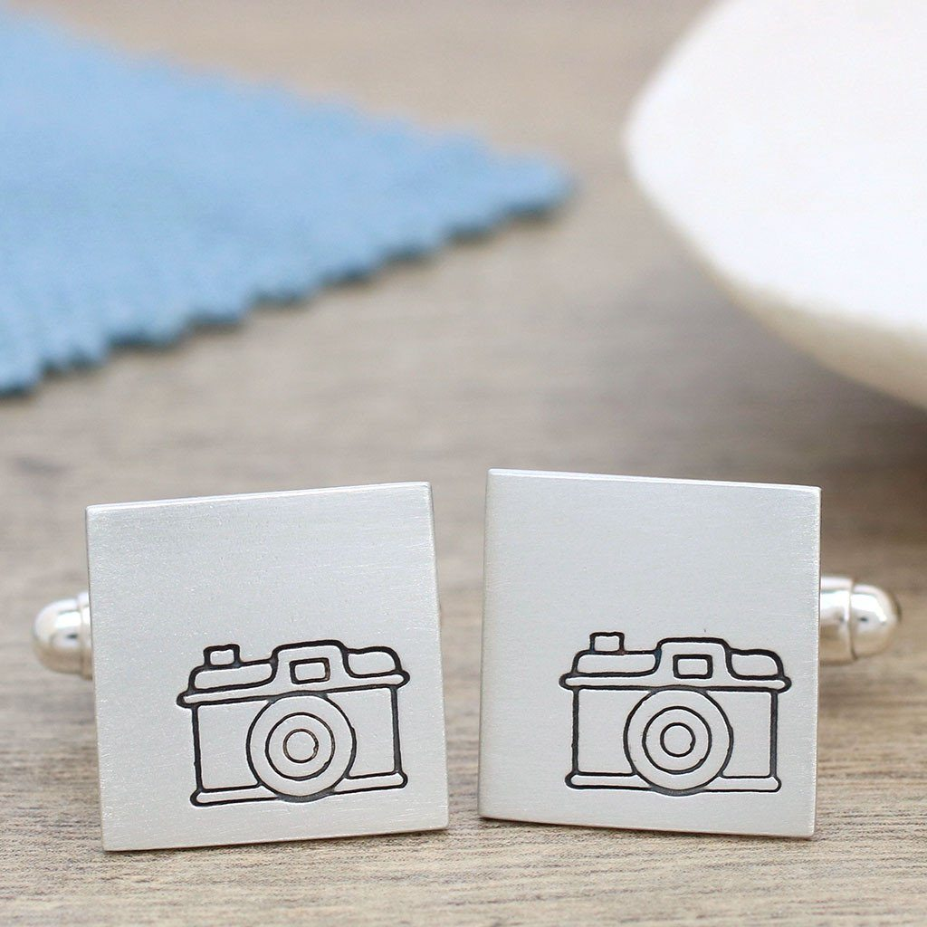 silver personalised camera cufflinks