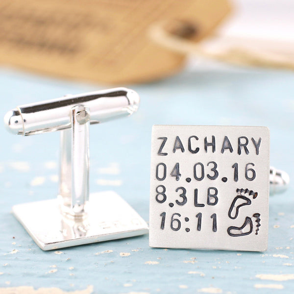 Personalised New Baby Cufflinks