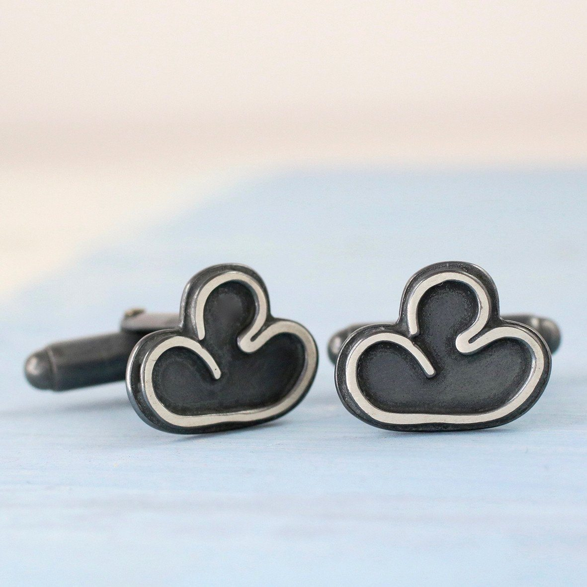black cloud silver cufflinks