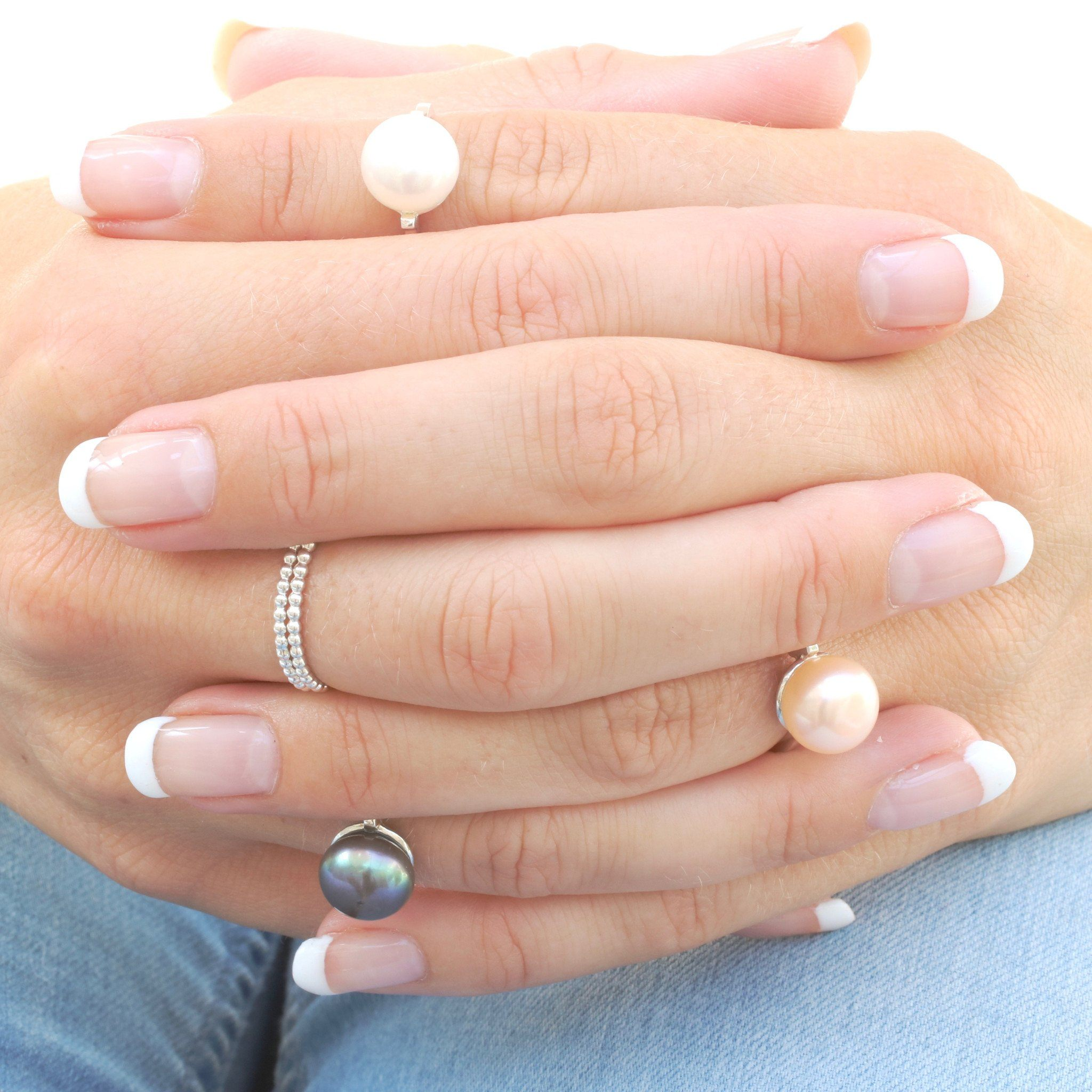 solitaire white blue peach pearl ring
