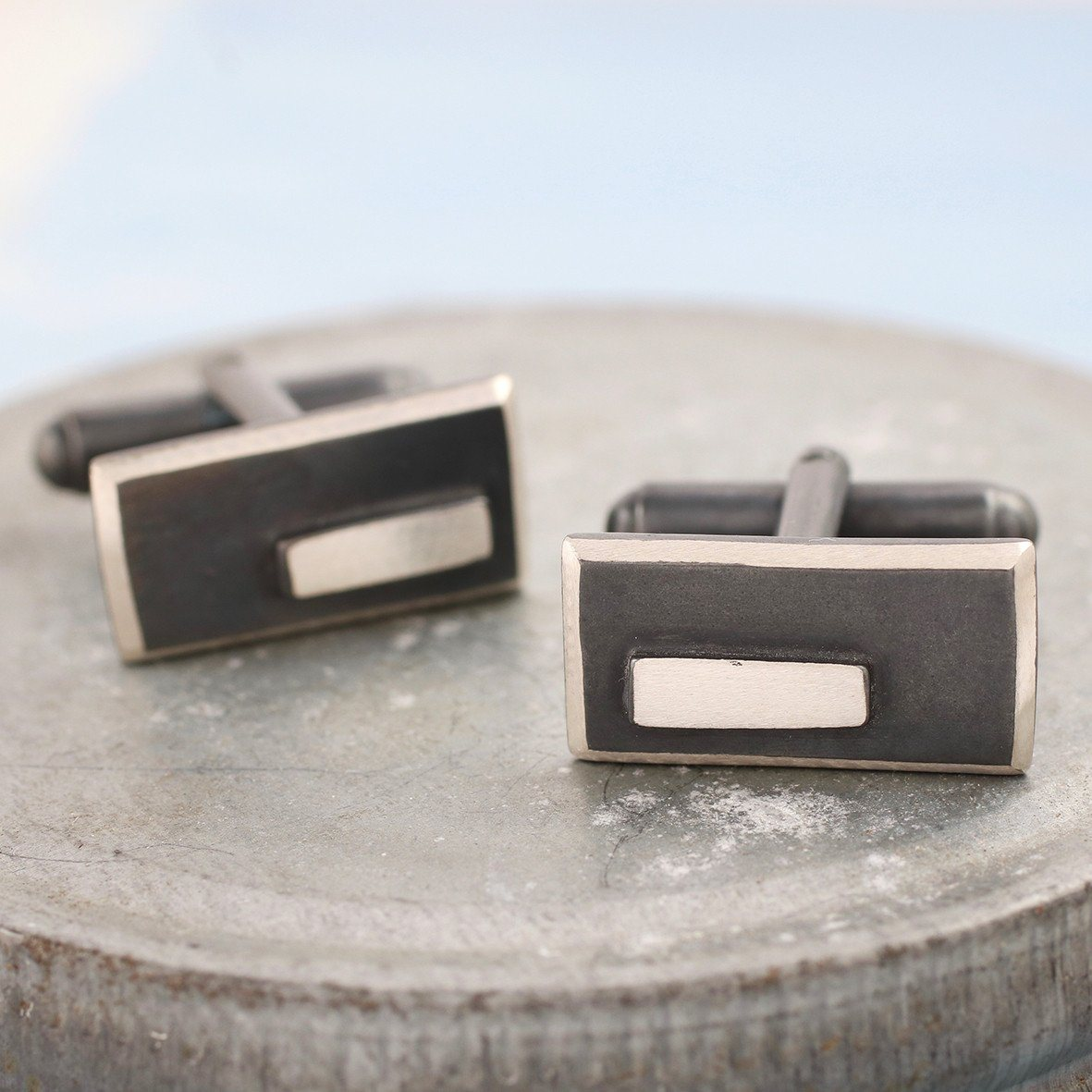 Blsck and silver cufflinks