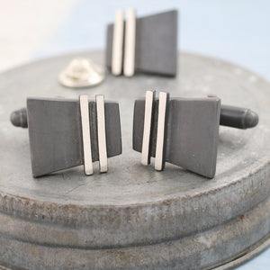 Cufflinks with matching tie pins