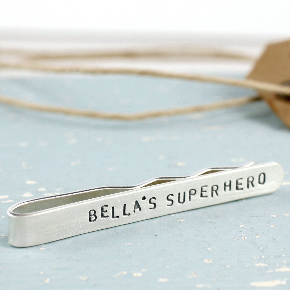 Personalised Silver Message Tie Clip