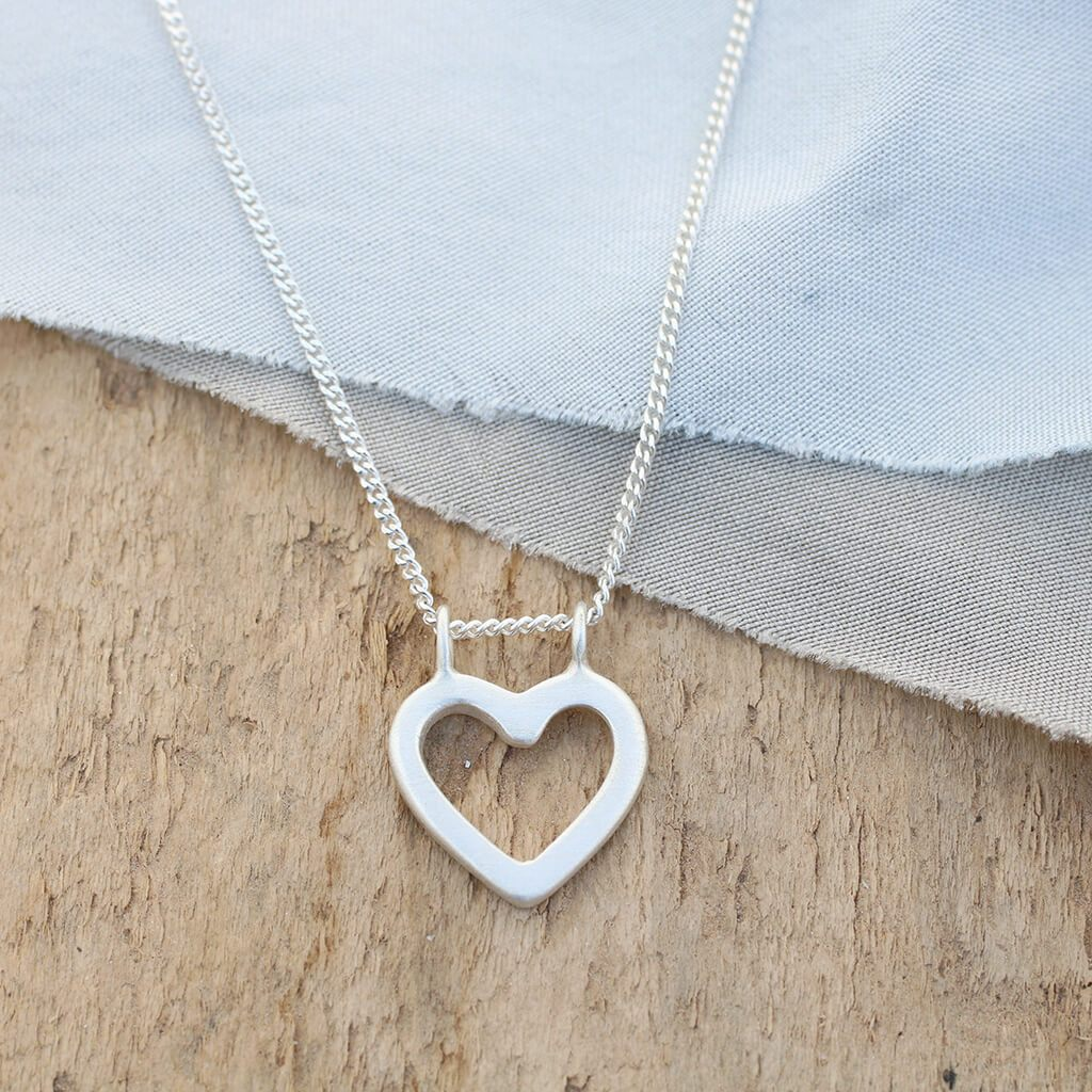 Silver Heart Necklace. Geometric Pendant