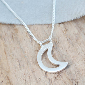 Silver Moon Necklace - Geometric Pendant