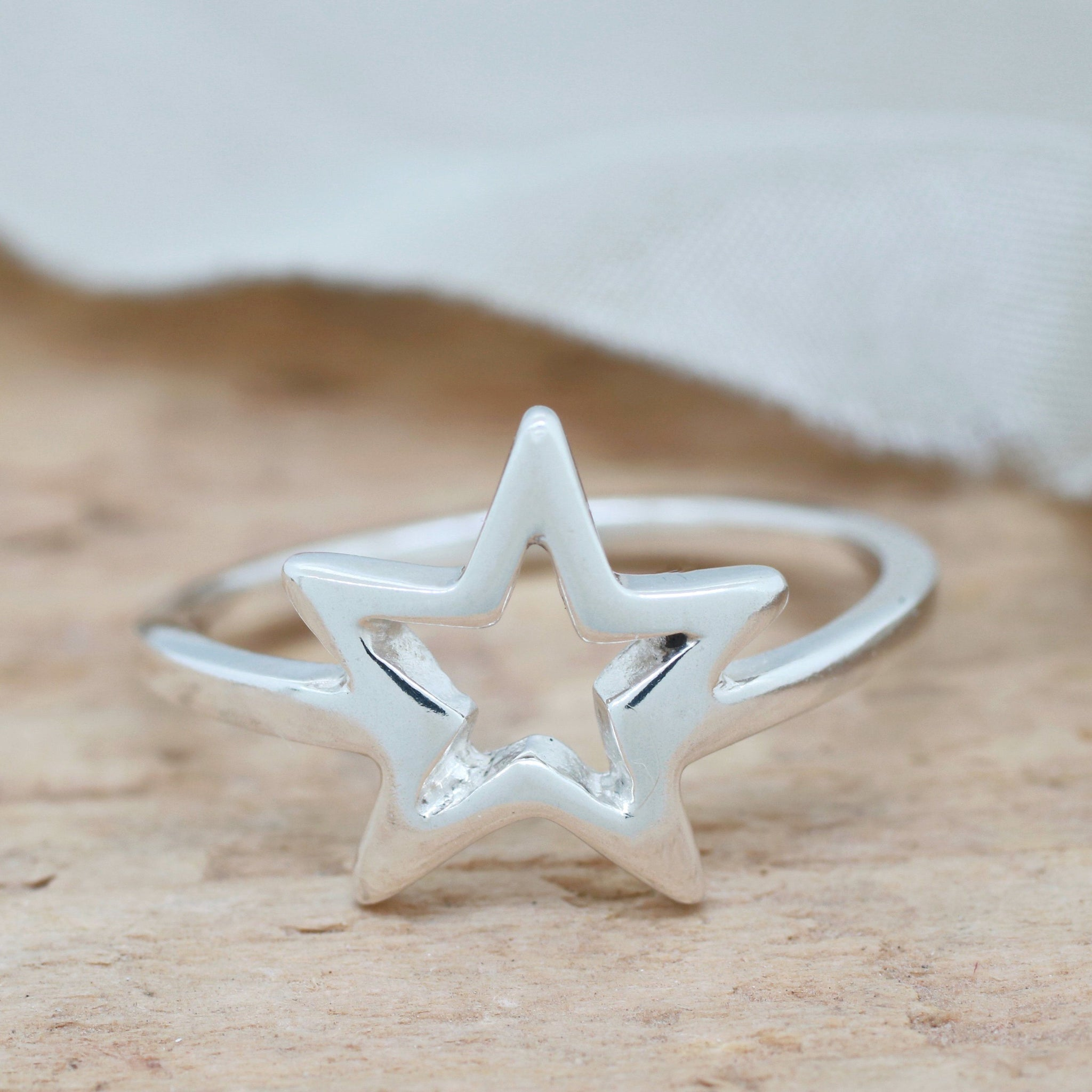Silver Star Ring. Geometric Ring