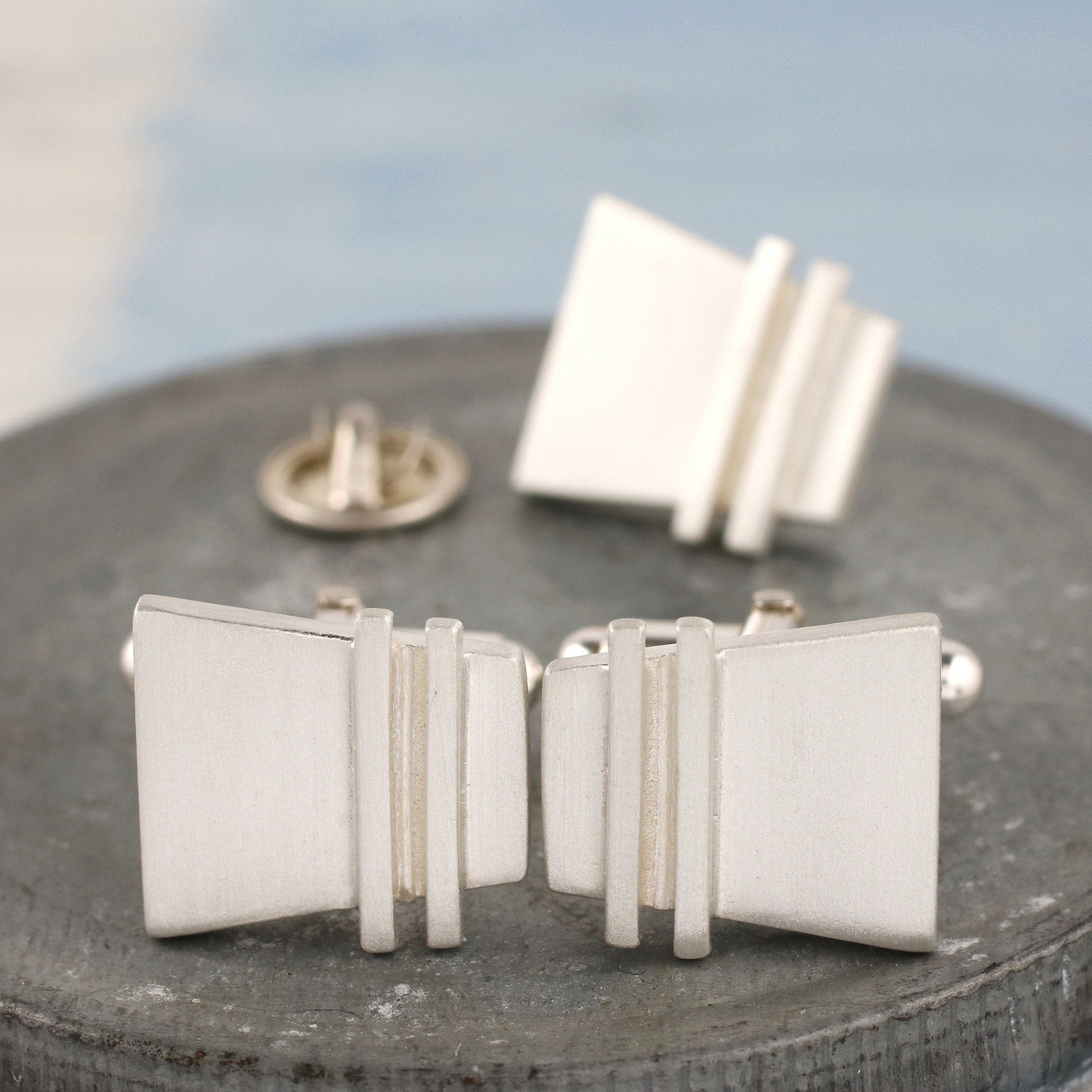 Silver cufflink and tie pin set