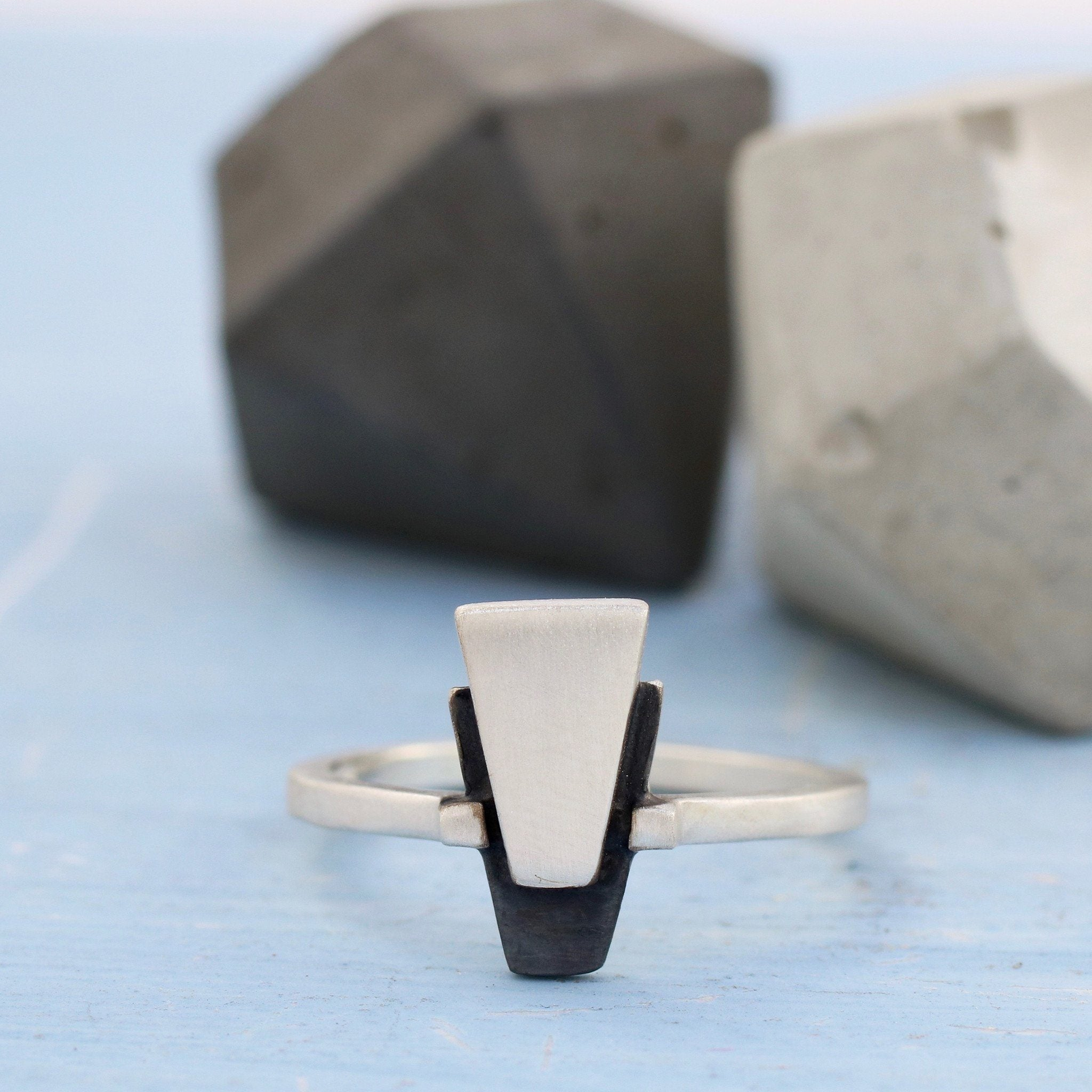Dainty Geometric Ring. Art Deco Ring