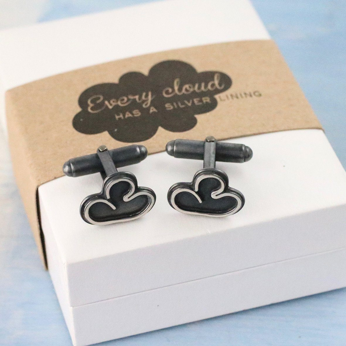 silver lining cloud cufflinks