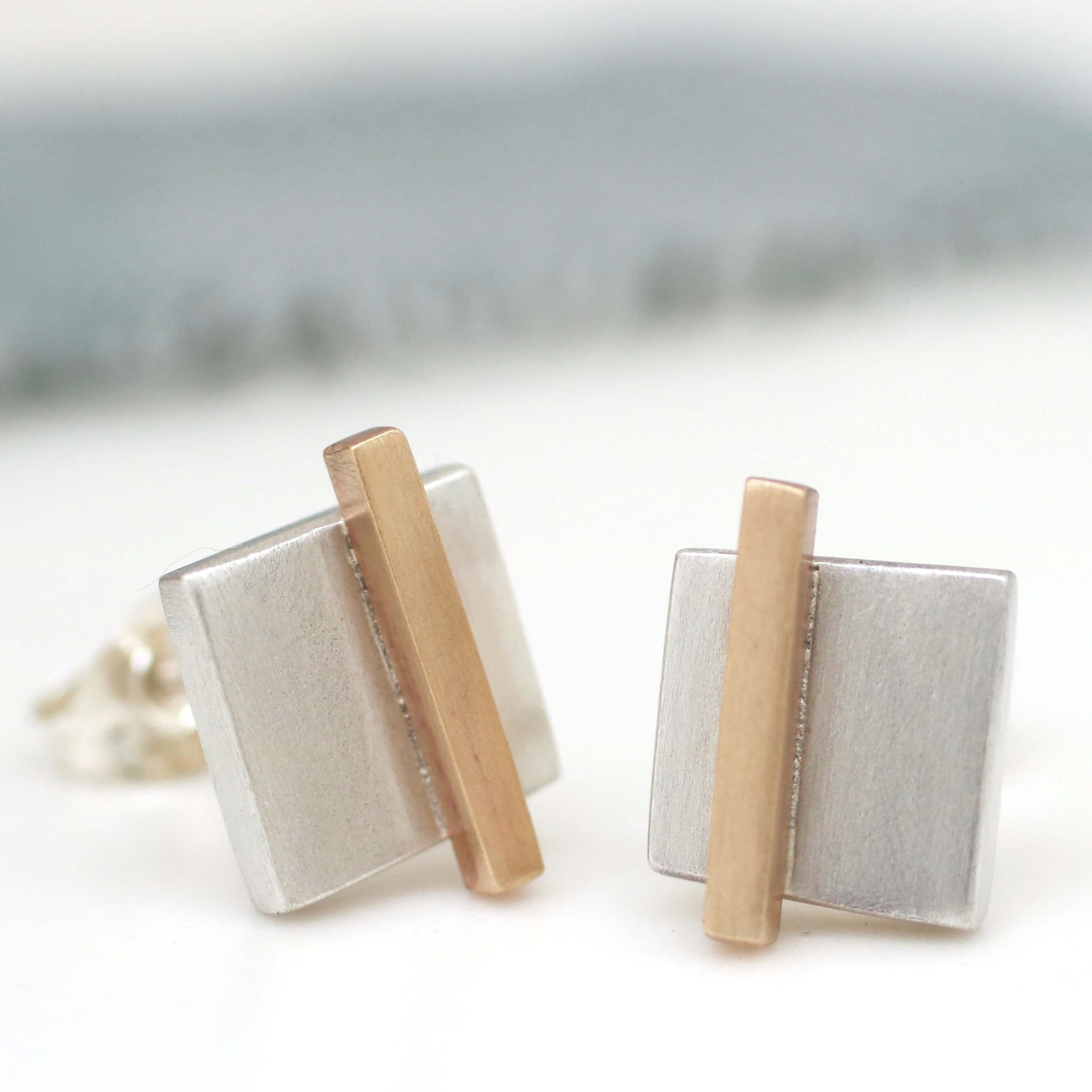 Silver and 9ct gold earrings