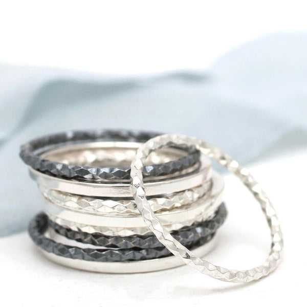 Silver Stacking Rings - Dainty Geometric