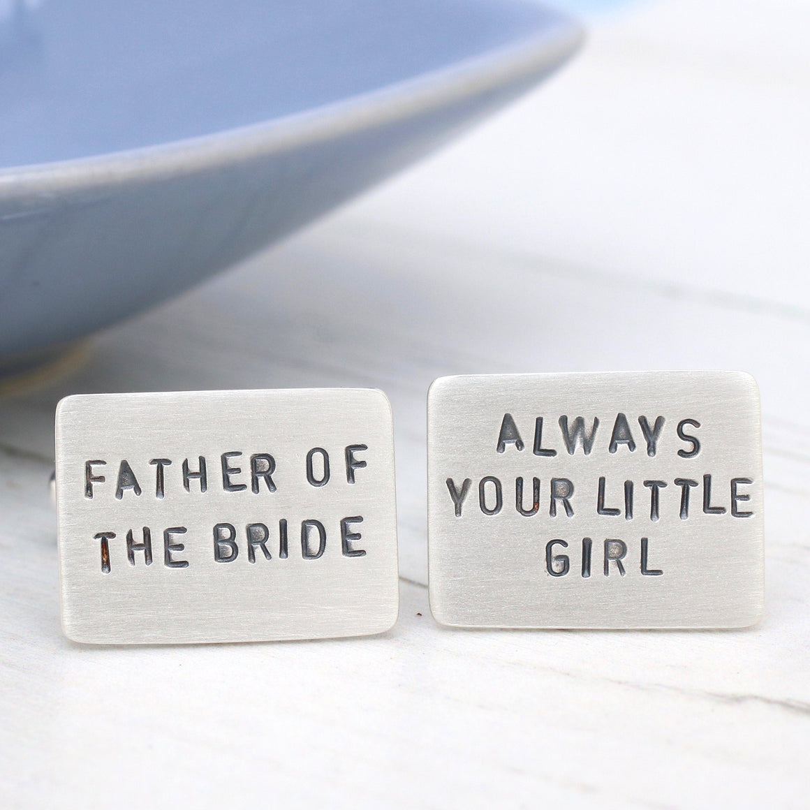 Personalised Message Silver Wedding Cufflinks
