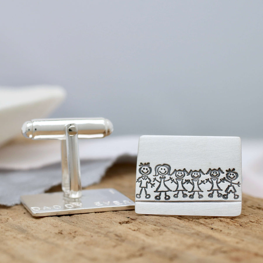Personalised Cufflinks. Family Portrait Gift For Dad