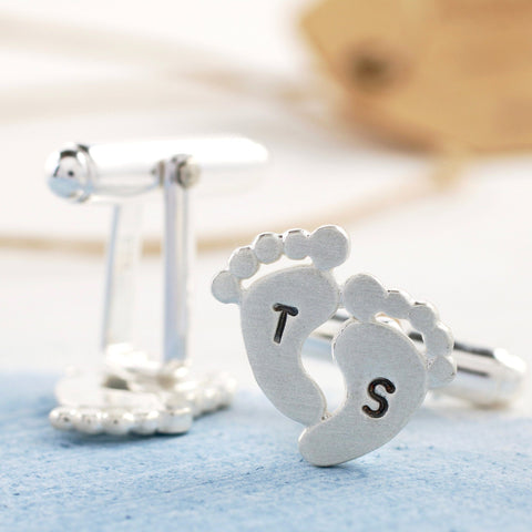 Personalised Silver Foot Print Cufflinks
