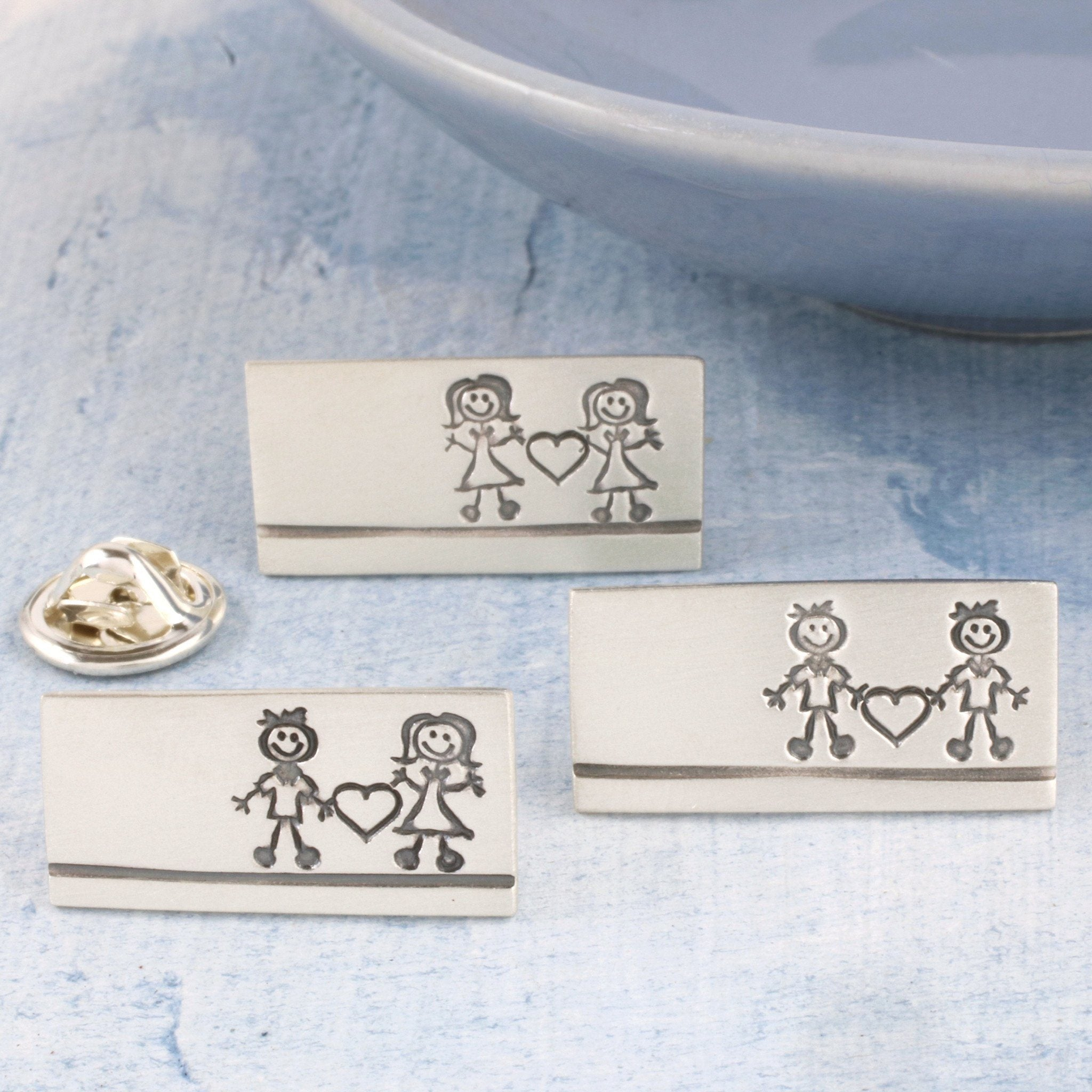Sterling Silver 'Couples' Wedding Tie Pin