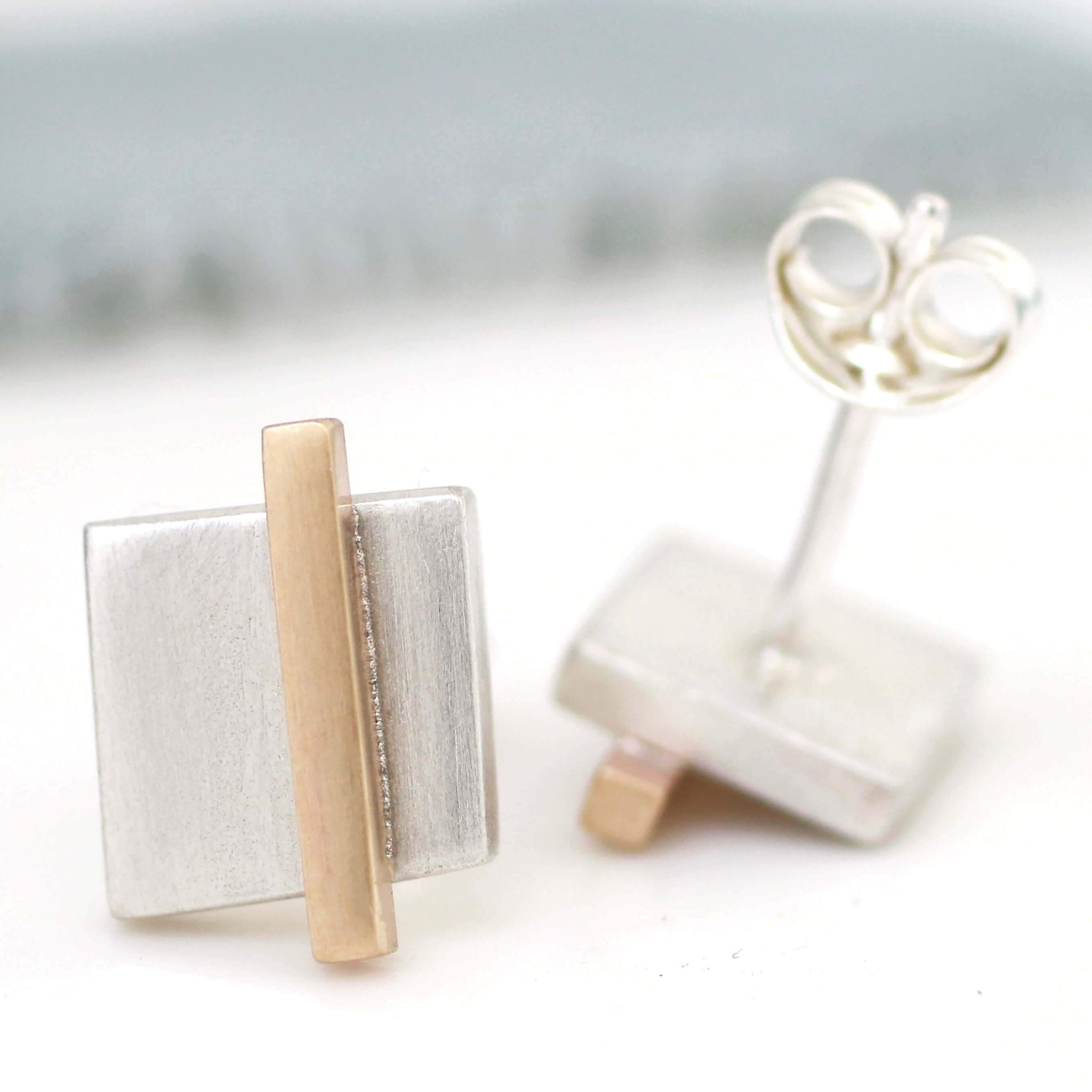 Geometric Earrings. Silver And 9ct Gold Square Studs