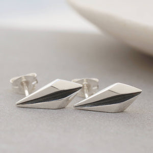 Silver and Black Art Deco Stud Earrings