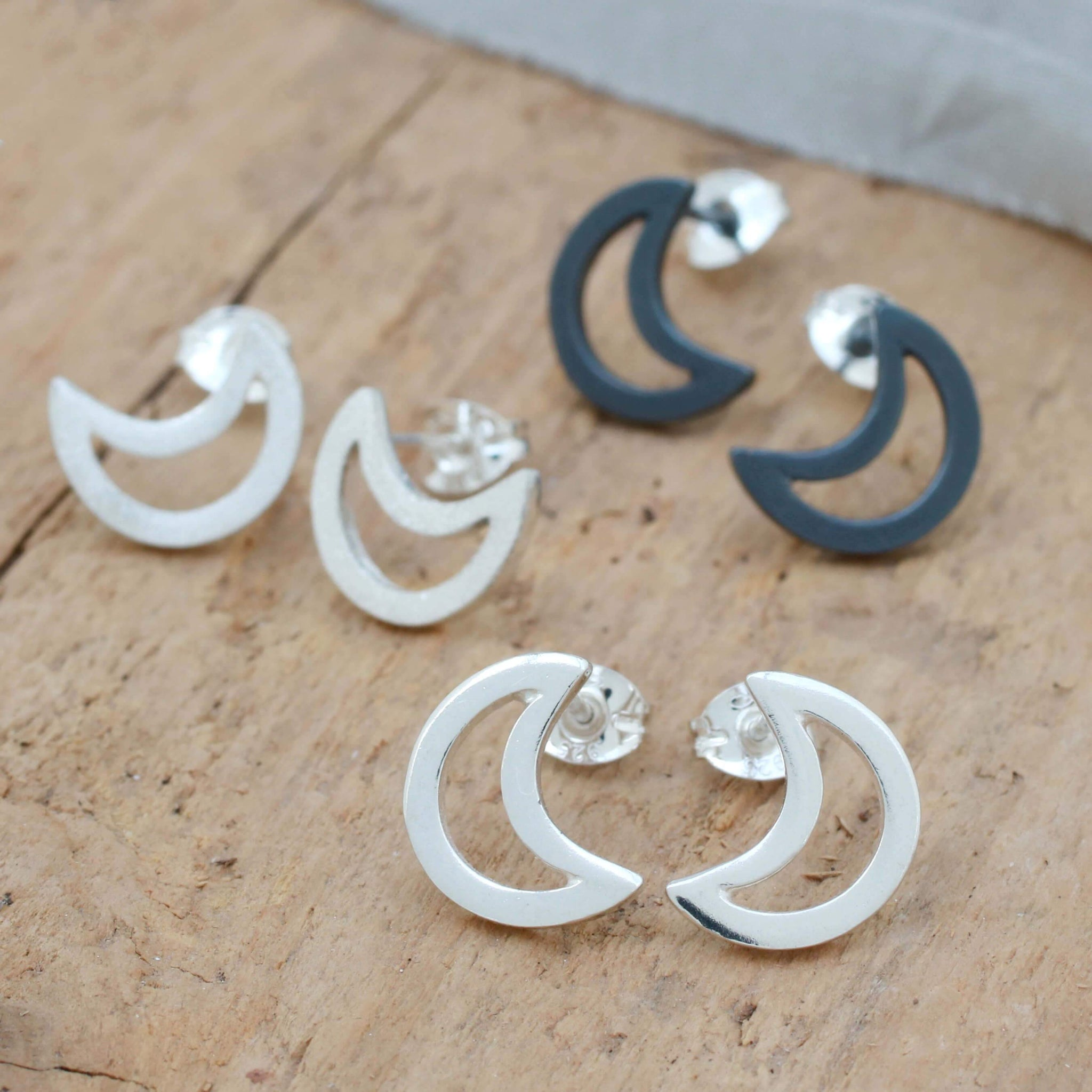 Celestial Jewellery - Moon Stud Earrings