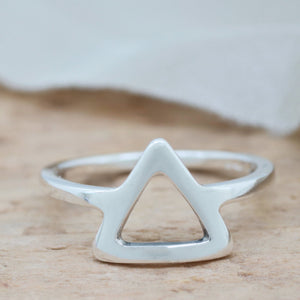 Silver Triangle Ring. Geometric Ring