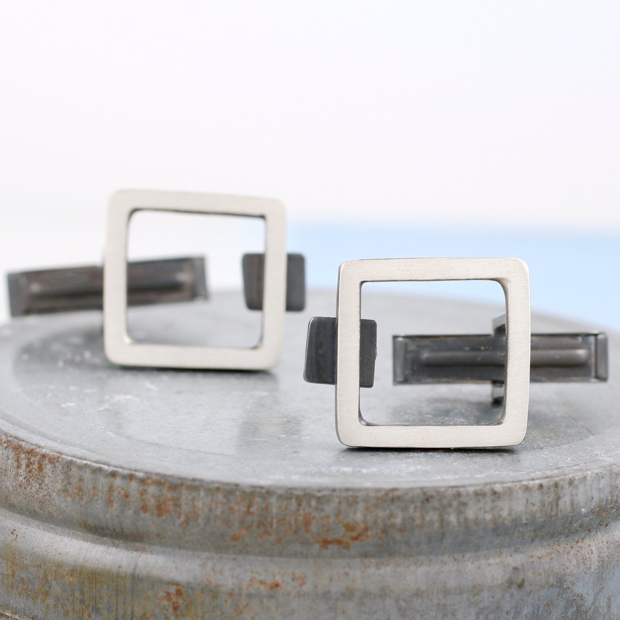 geometric square cufflinks