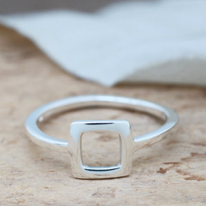 Silver Square Ring. Geometric Ring