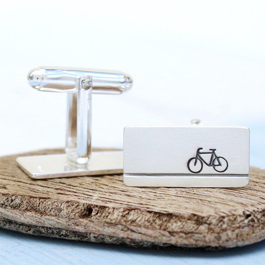 Sterling Silver Bike Cufflinks and Tie Clip set