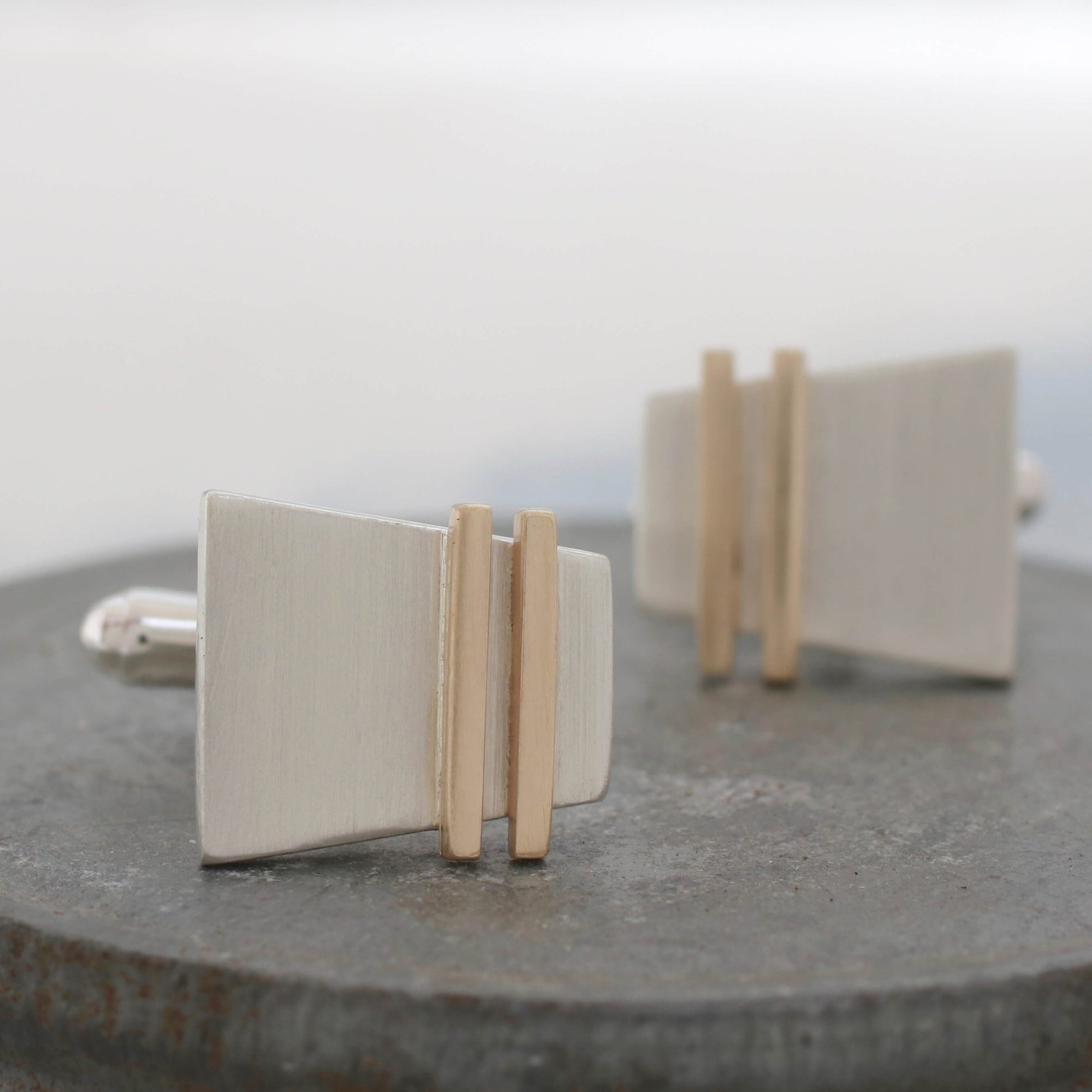 Copy of Geometric Cufflinks. Silver and 9ct Gold Pinstripe