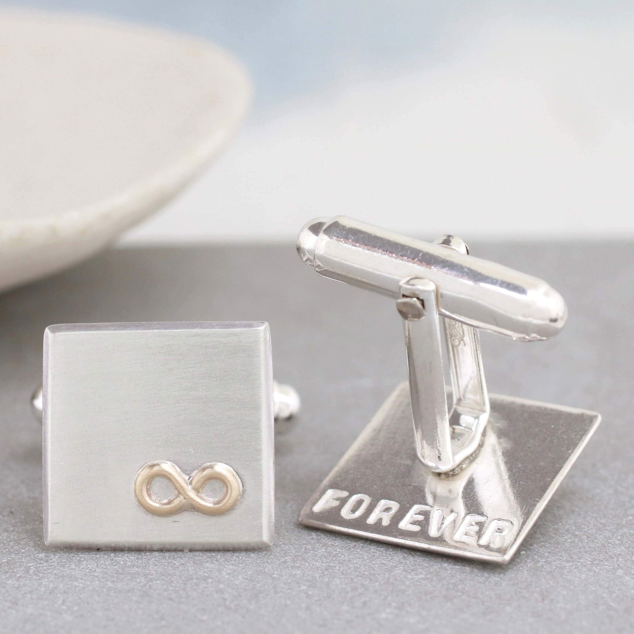Personalised Wedding Cufflinks. Gold Infinity Symbol