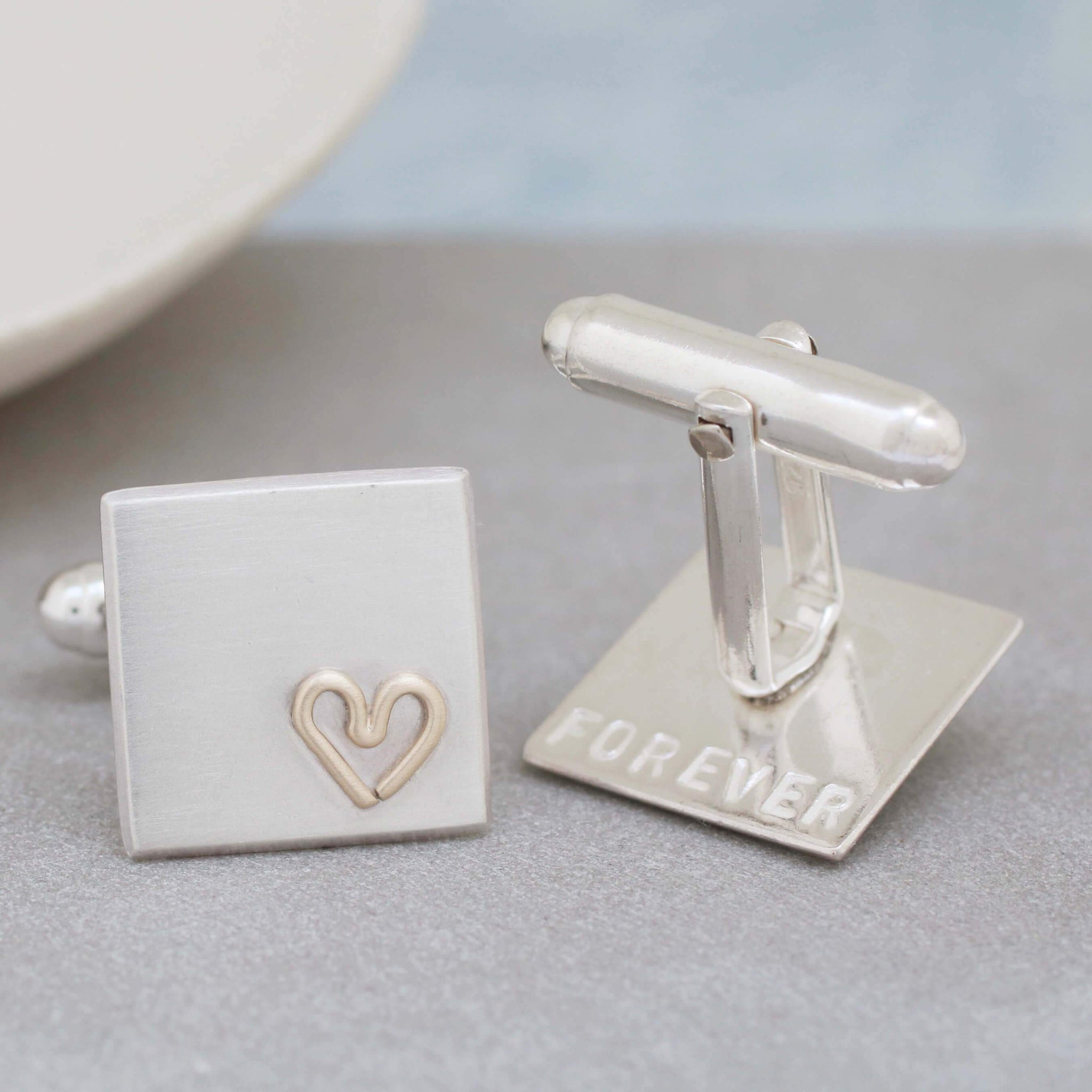 Personalised Wedding Cufflinks. Gold Heart Cufflinks