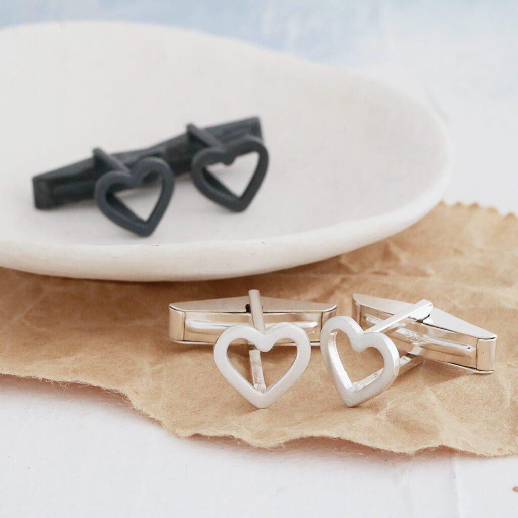 Geometric Heart Silver Cufflinks