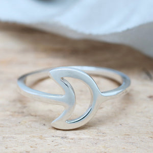 Silver Crescent Moon Ring. Geometric Ring